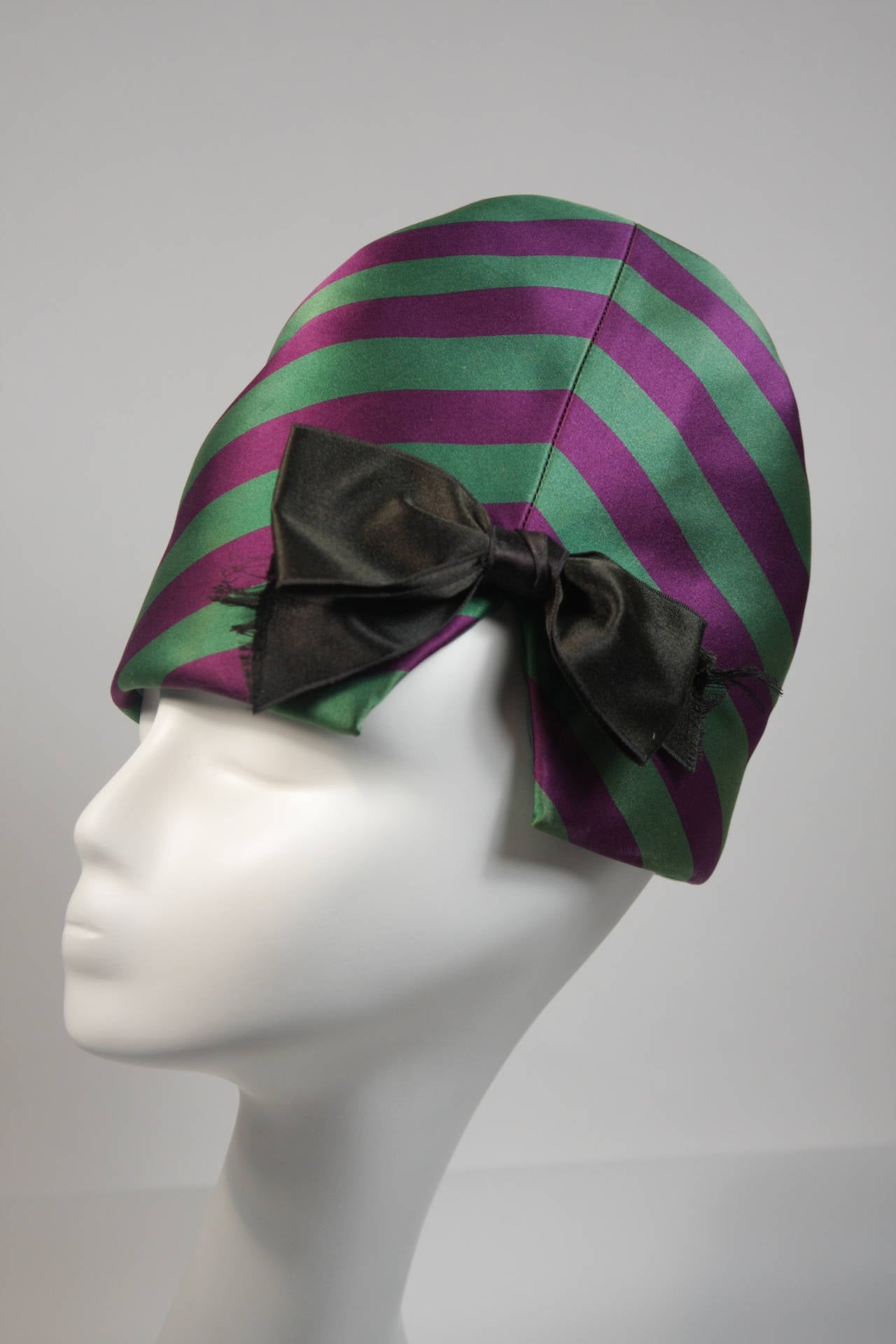 Yves Saint Laurent Rive Gauche Purple and Green Silk Rouched Hat with Bow 5