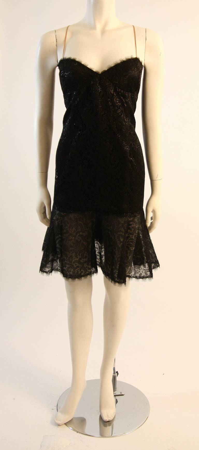 Beautiful Bill Blass Cocktail Dress with Lace Overlay 8