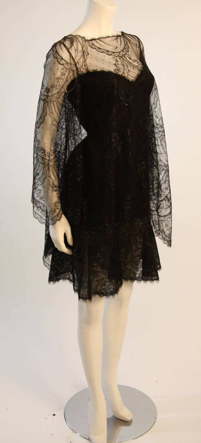 Beautiful Bill Blass Cocktail Dress with Lace Overlay 2