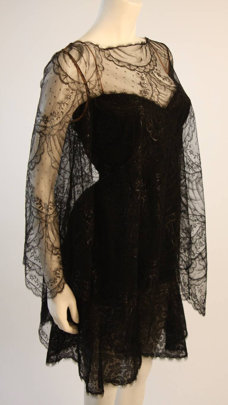 Beautiful Bill Blass Cocktail Dress with Lace Overlay 3
