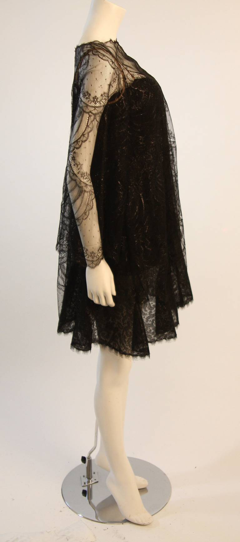 Beautiful Bill Blass Cocktail Dress with Lace Overlay 4