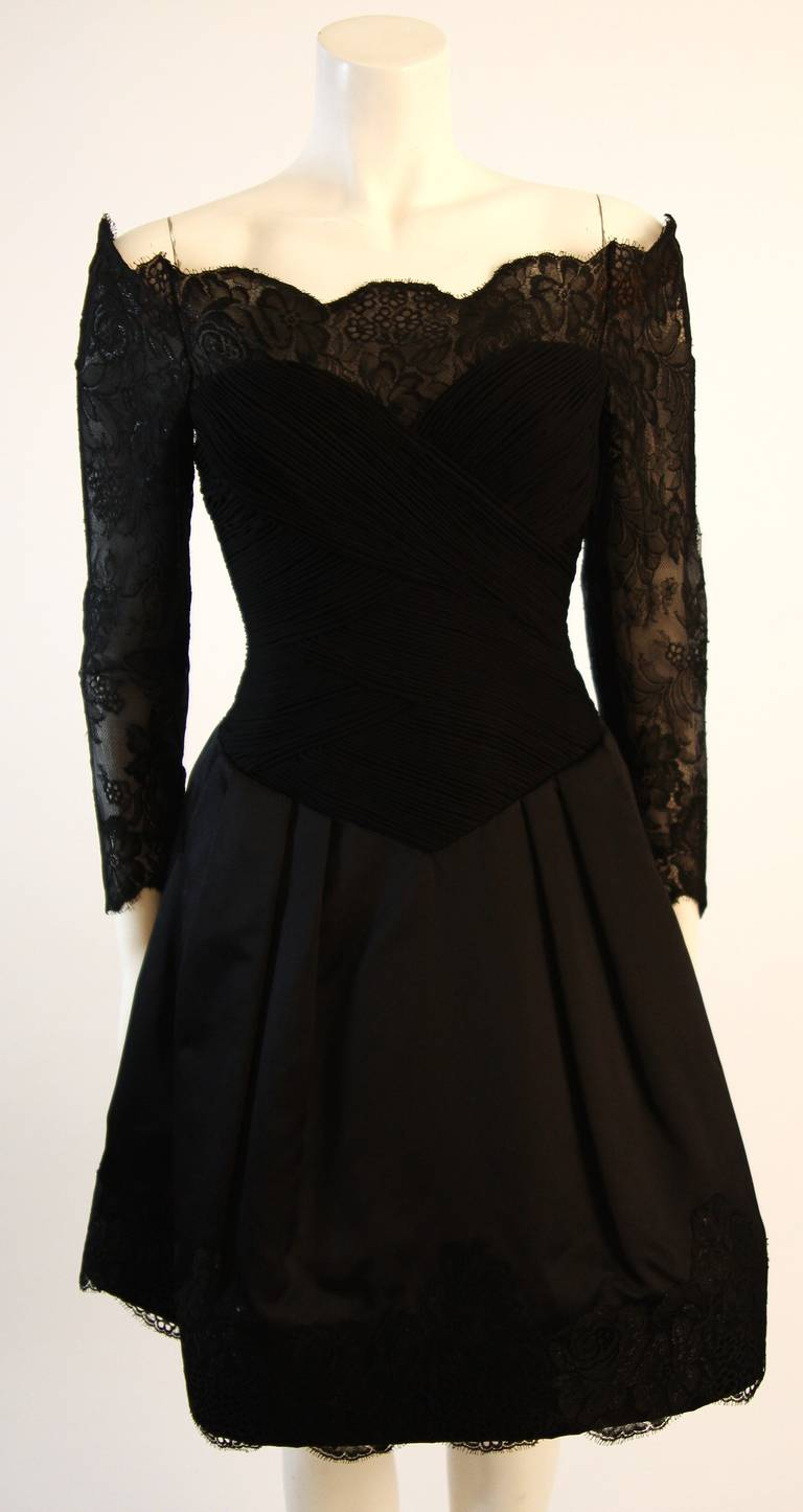 Vera Wang Black Off the Shoulder Silk Cocktail Dress with 3/4 Lace Sleeves 2