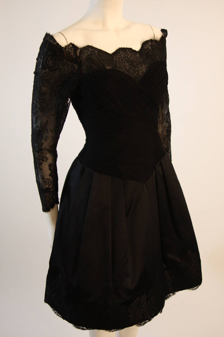 Vera Wang Black Off the Shoulder Silk Cocktail Dress with 3/4 Lace Sleeves 4