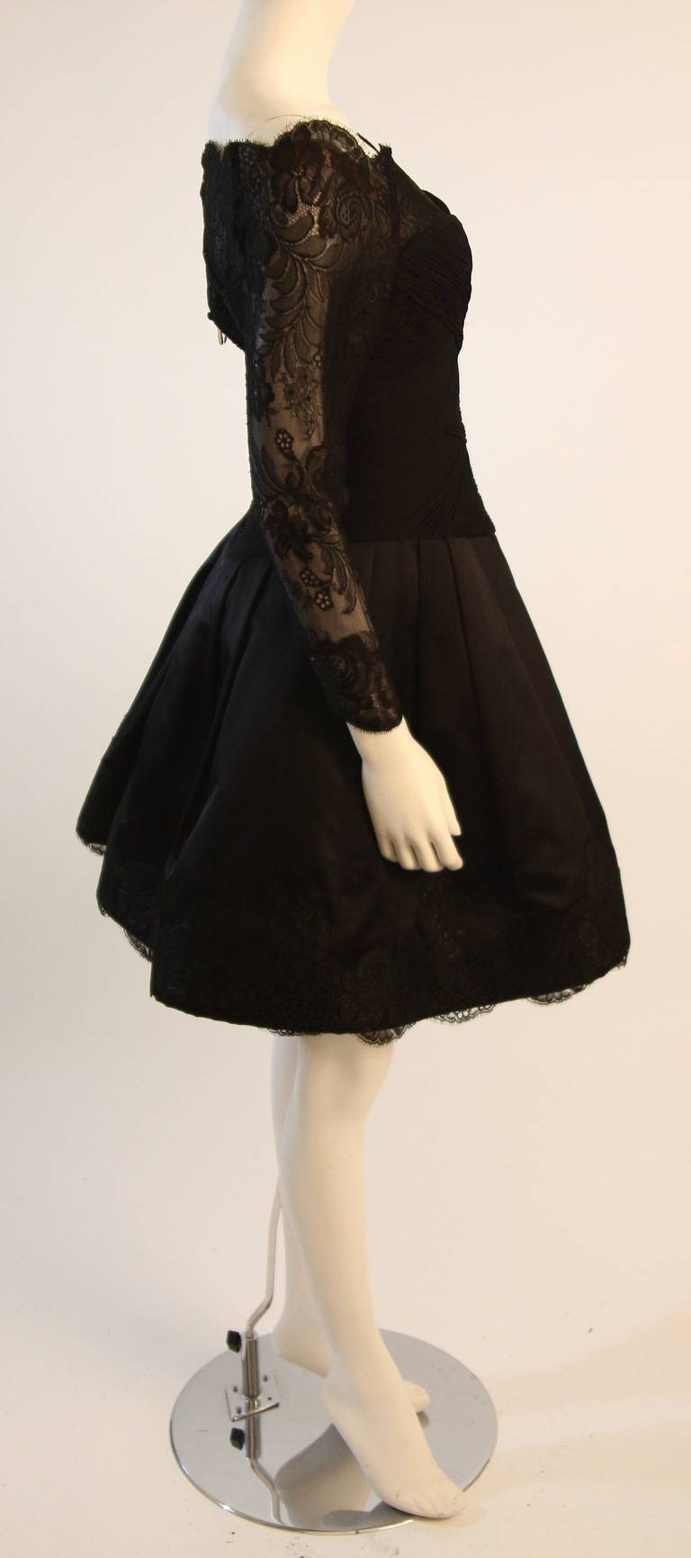 Vera Wang Black Off the Shoulder Silk Cocktail Dress with 3/4 Lace Sleeves 5