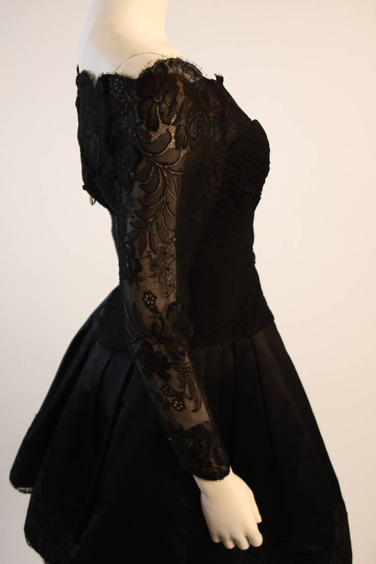 Vera Wang Black Off the Shoulder Silk Cocktail Dress with 3/4 Lace Sleeves 6