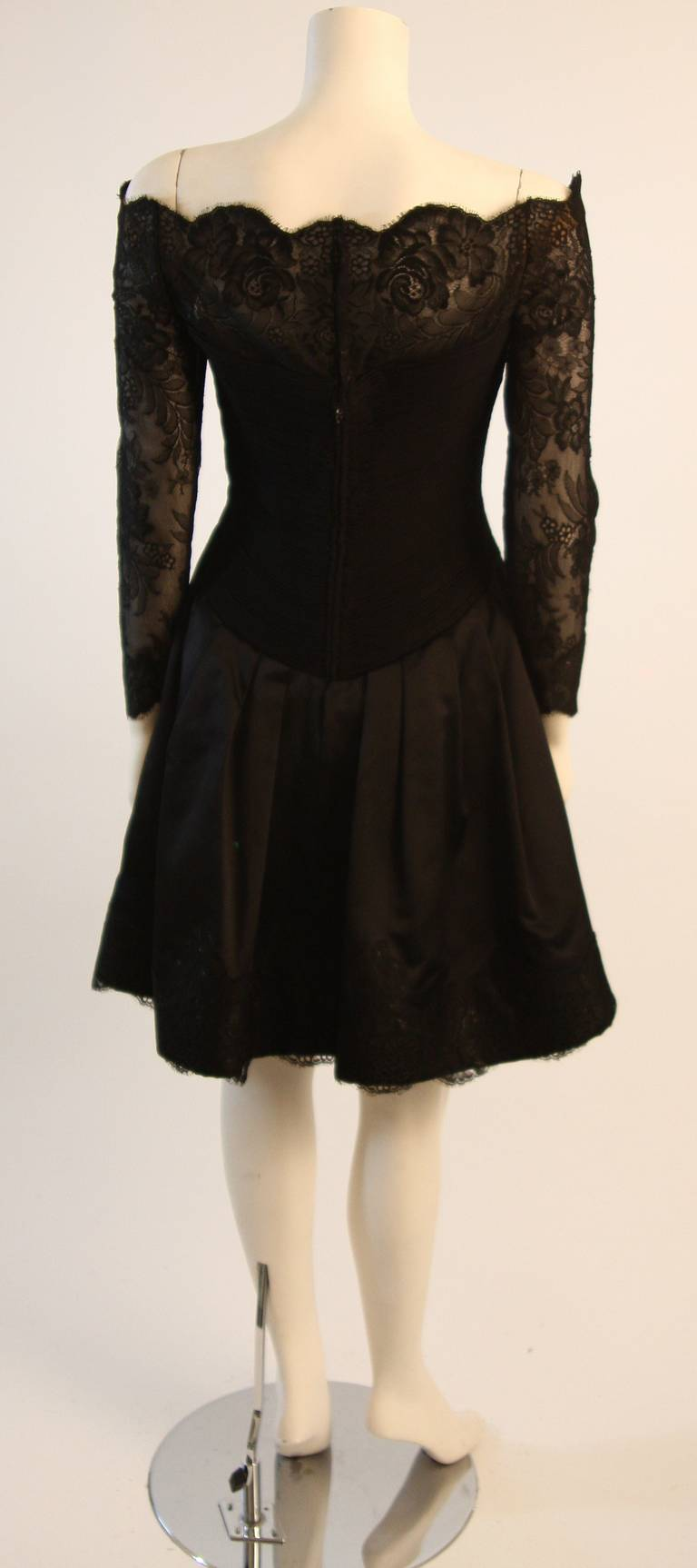 Vera Wang Black Off the Shoulder Silk Cocktail Dress with 3/4 Lace Sleeves 7
