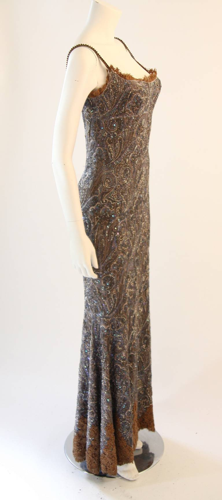 RANDI RAHM COUTURE Purple Sequin Hand Beaded Velvet Paisley Gown Size 4-6 5