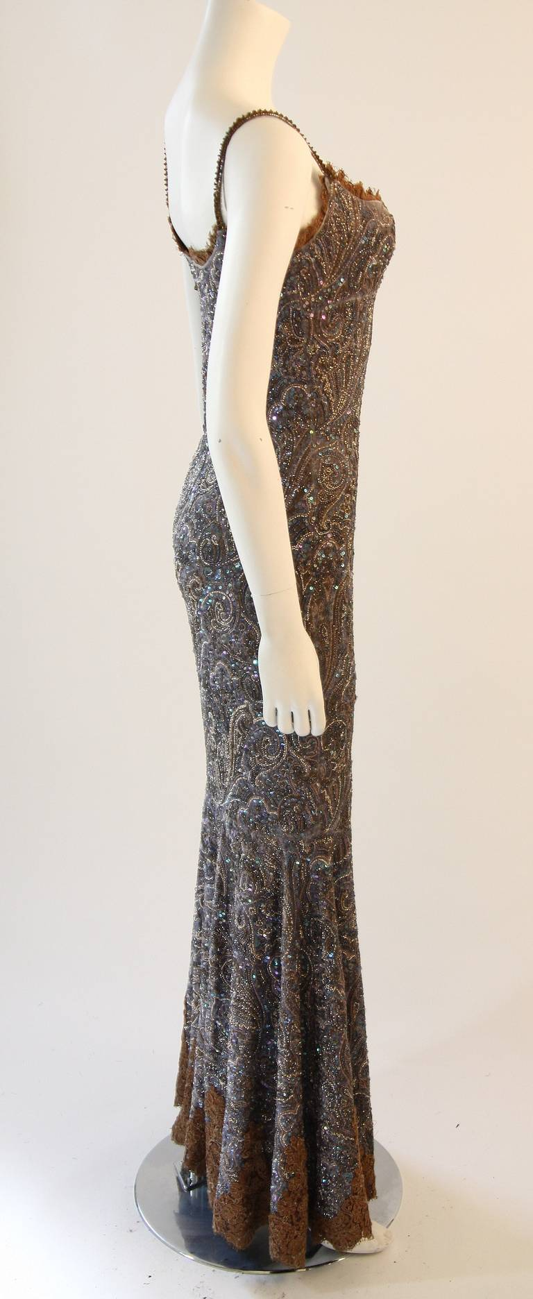 RANDI RAHM COUTURE Purple Sequin Hand Beaded Velvet Paisley Gown Size 4-6 7