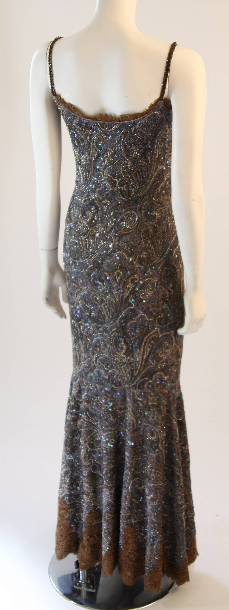 RANDI RAHM COUTURE Purple Sequin Hand Beaded Velvet Paisley Gown Size 4-6 8