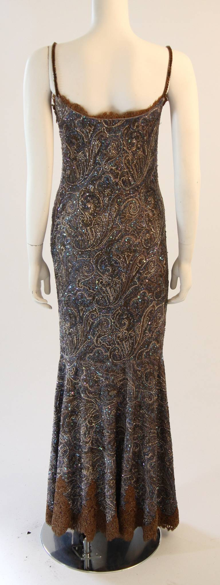 RANDI RAHM COUTURE Purple Sequin Hand Beaded Velvet Paisley Gown Size 4-6 9