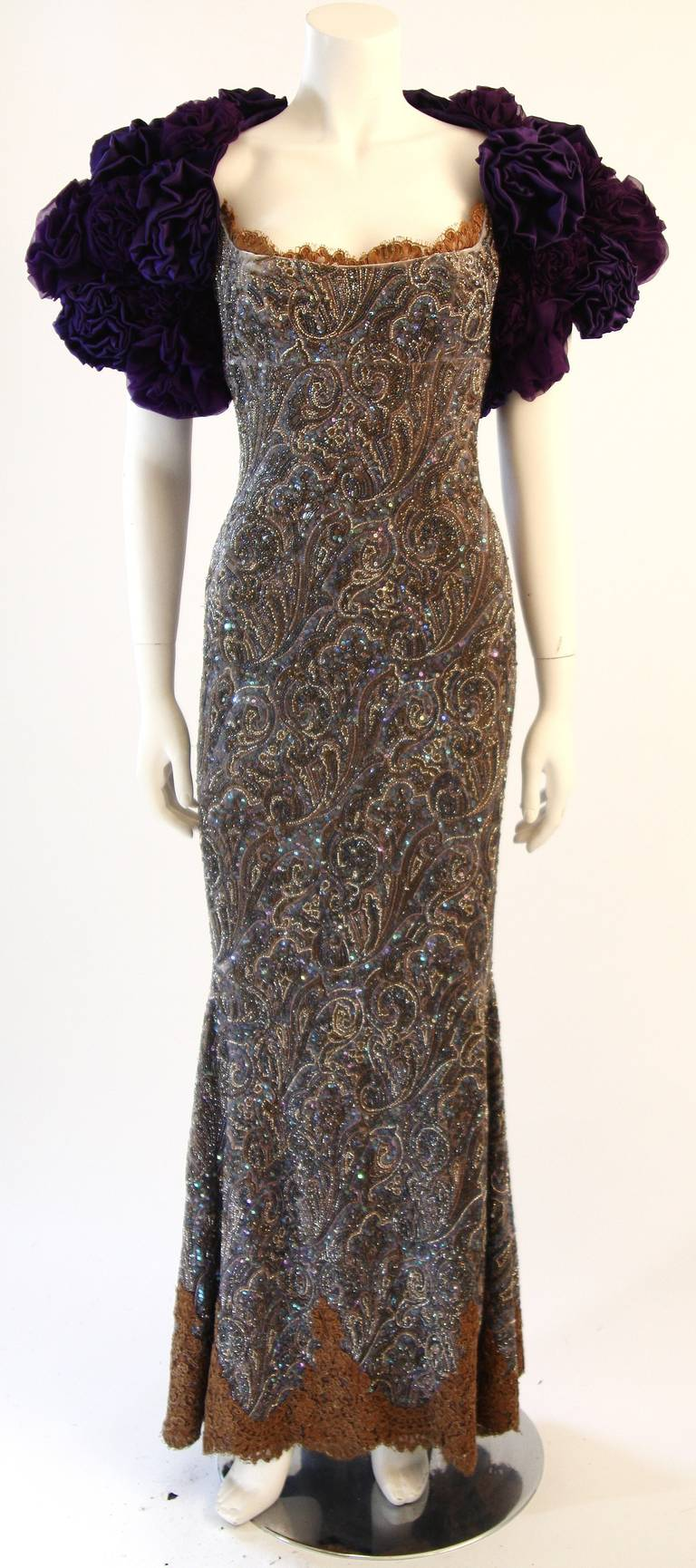 Black RANDI RAHM COUTURE Purple Sequin Hand Beaded Velvet Paisley Gown Size 4-6 For Sale