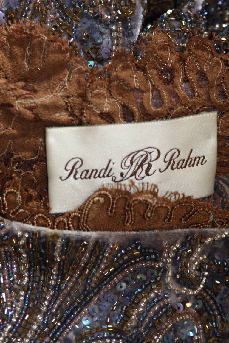 RANDI RAHM COUTURE Purple Sequin Hand Beaded Velvet Paisley Gown Size 4-6 For Sale 5