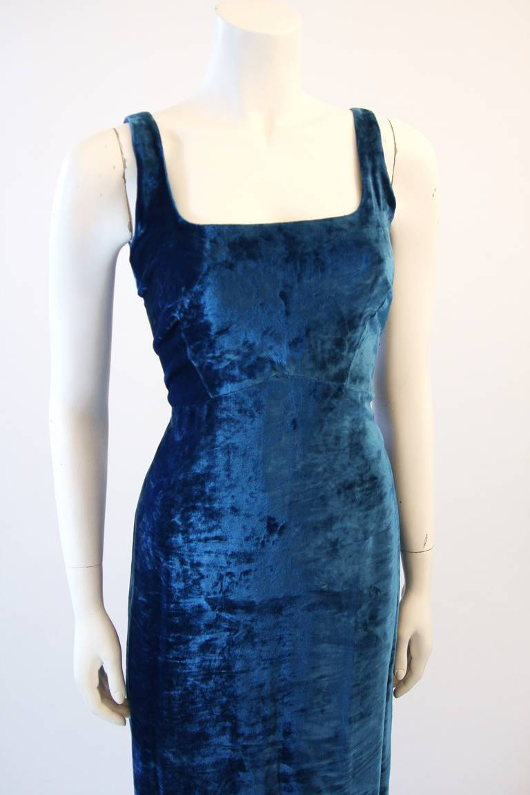 Dolce and Gabbana Jewel Blue Crushed Velvet Gown Circa 2000 Size 42 3