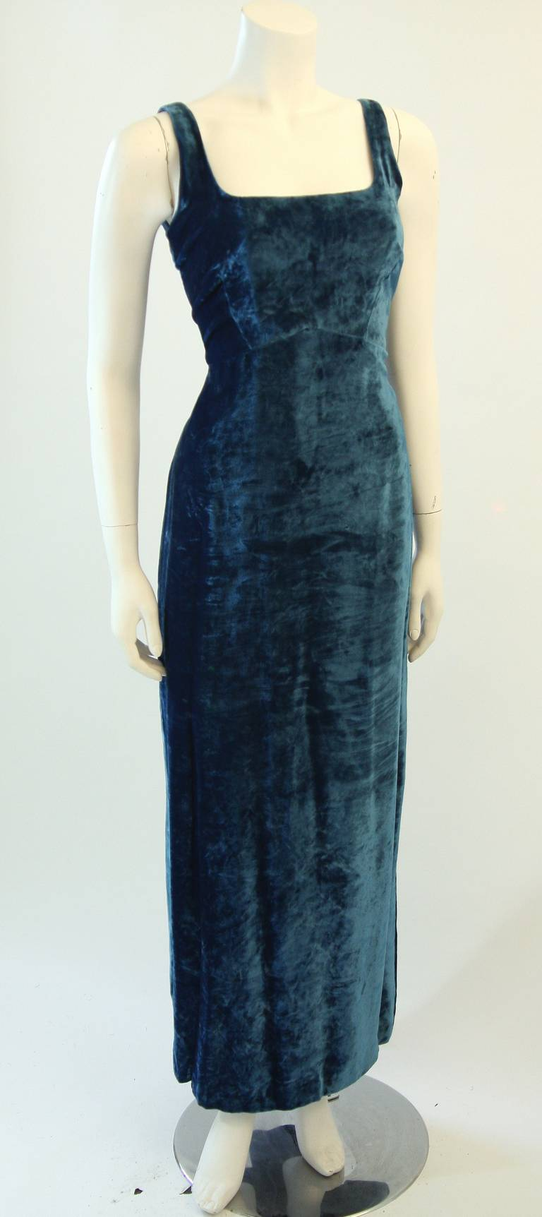 Dolce and Gabbana Jewel Blue Crushed Velvet Gown Circa 2000 Size 42 2