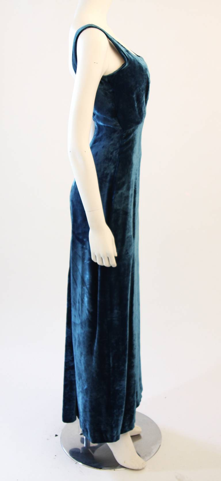 Dolce and Gabbana Jewel Blue Crushed Velvet Gown Circa 2000 Size 42 4