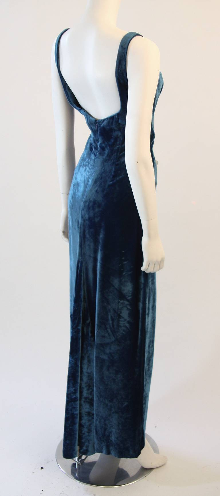 Dolce and Gabbana Jewel Blue Crushed Velvet Gown Circa 2000 Size 42 5