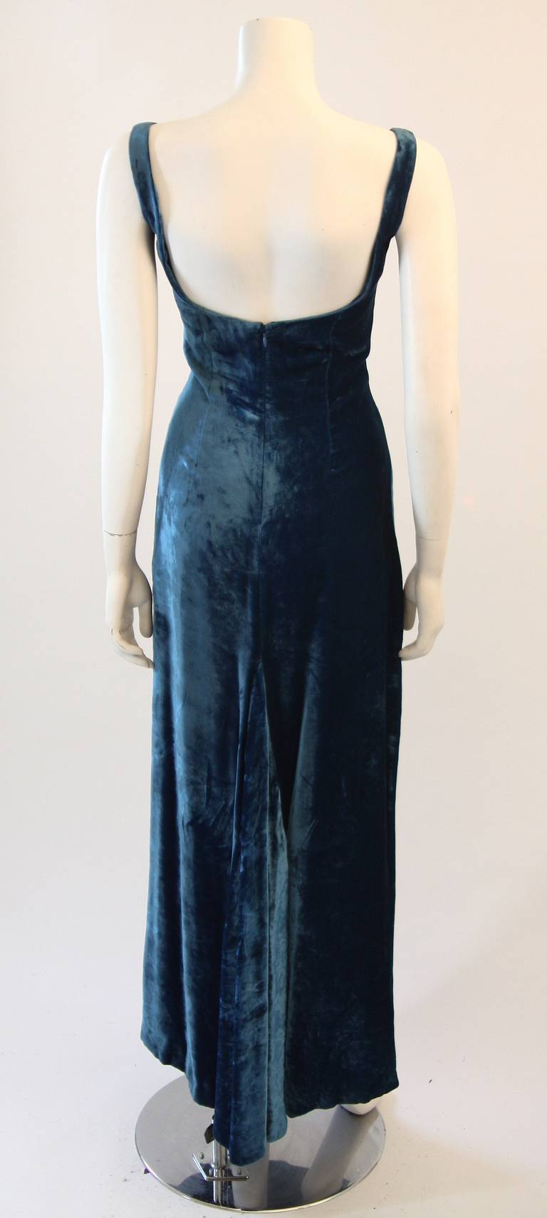 Dolce and Gabbana Jewel Blue Crushed Velvet Gown Circa 2000 Size 42 6