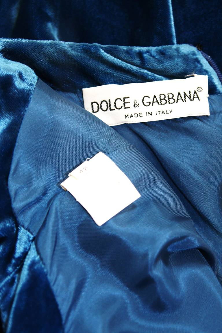 Dolce and Gabbana Jewel Blue Crushed Velvet Gown Circa 2000 Size 42 8