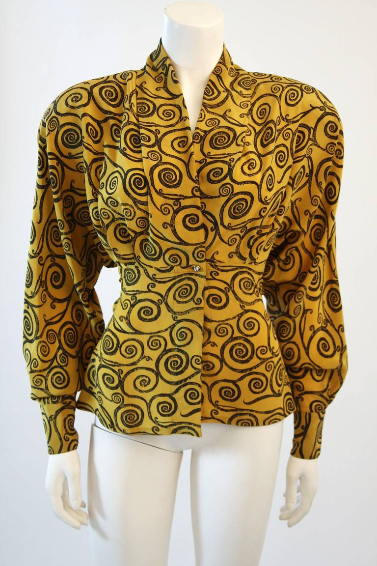 Gianni Versace Mustard Yellow Blouse with Plunge Neckline Size 38 2