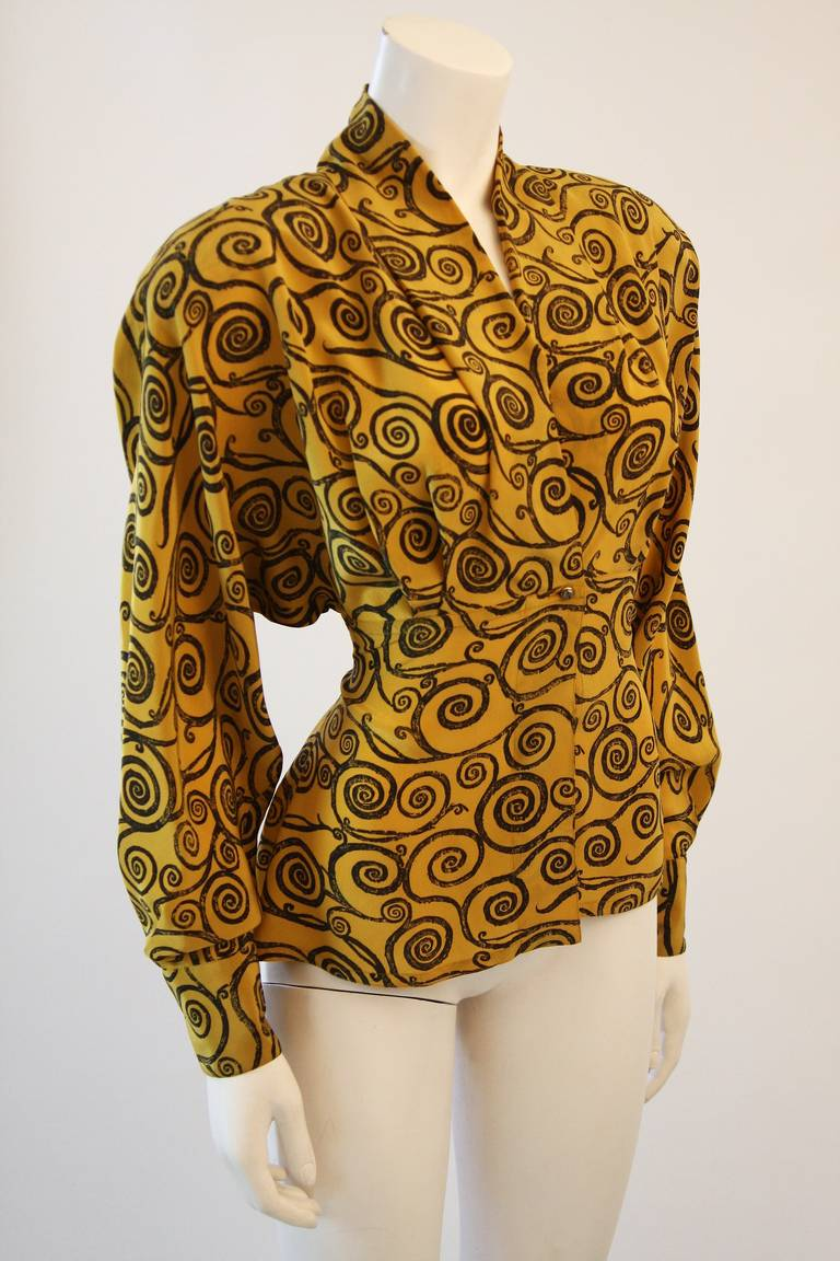 Gianni Versace Mustard Yellow Blouse with Plunge Neckline Size 38 3