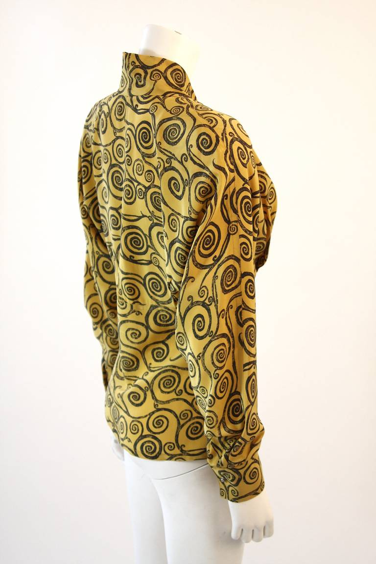 Gianni Versace Mustard Yellow Blouse with Plunge Neckline Size 38 4