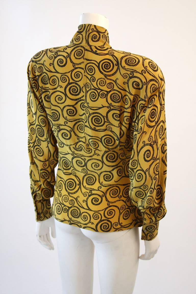 Gianni Versace Mustard Yellow Blouse with Plunge Neckline Size 38 5