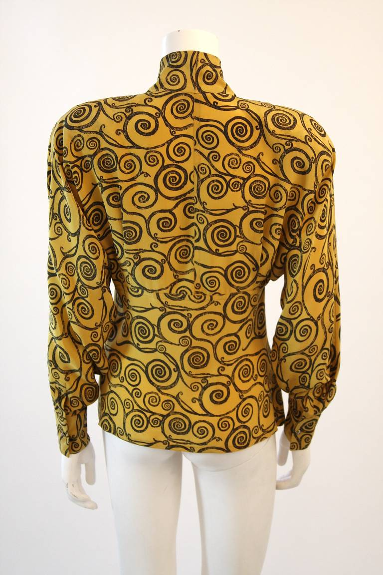 Gianni Versace Mustard Yellow Blouse with Plunge Neckline Size 38 6