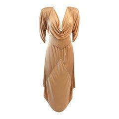Birgitta Champagne Jersey Dress with Rhinestones and Belt