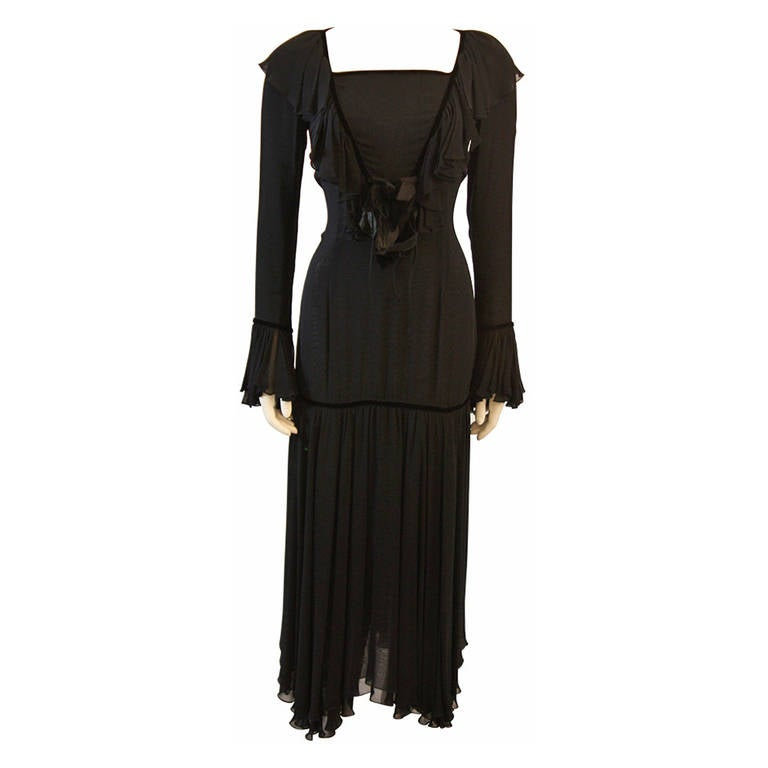 Dolce and Gabbana Silk and Velvet Trim Dress with Floral Detail Size 40
