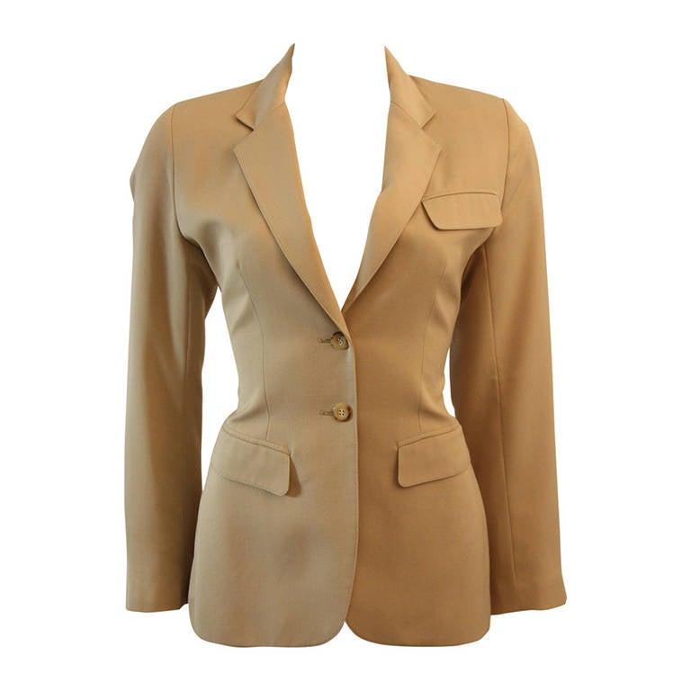 Alaia Khaki Nude Safari Style Blazer Size 40 1
