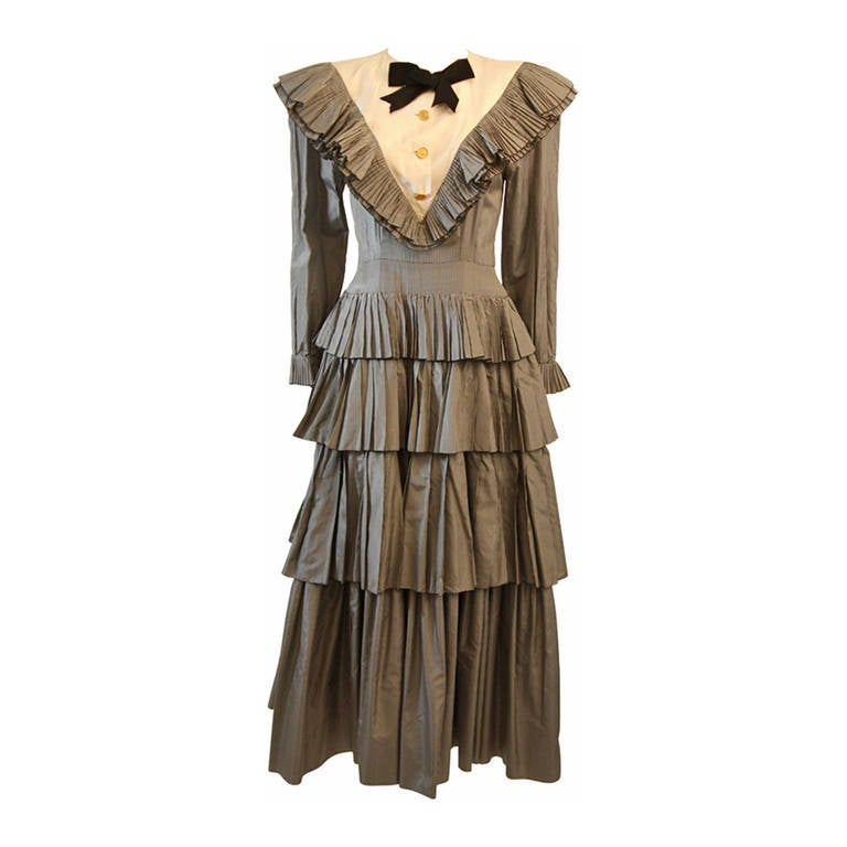 Chanel Edwardian Tiered Ruffle Gingham Gown with Black Bow 1