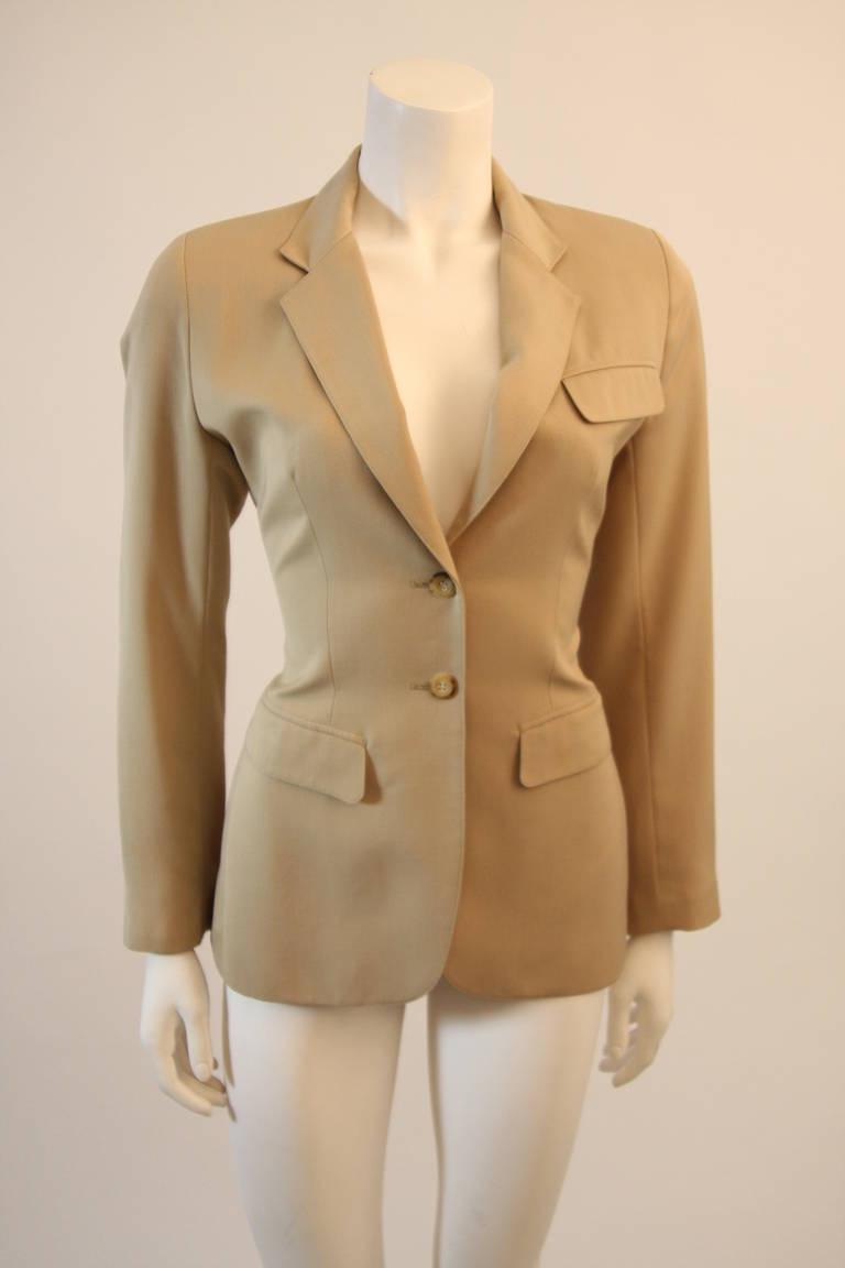 Alaia Khaki Nude Safari Style Blazer Size 40 2