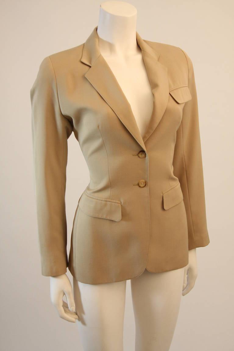 Alaia Khaki Nude Safari Style Blazer Size 40 3