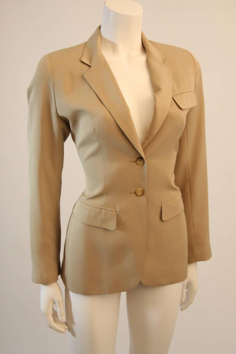 Alaia Khaki Nude Safari Style Blazer Size 40 4