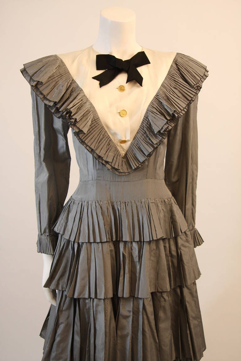 Chanel Edwardian Tiered Ruffle Gingham Gown with Black Bow 2