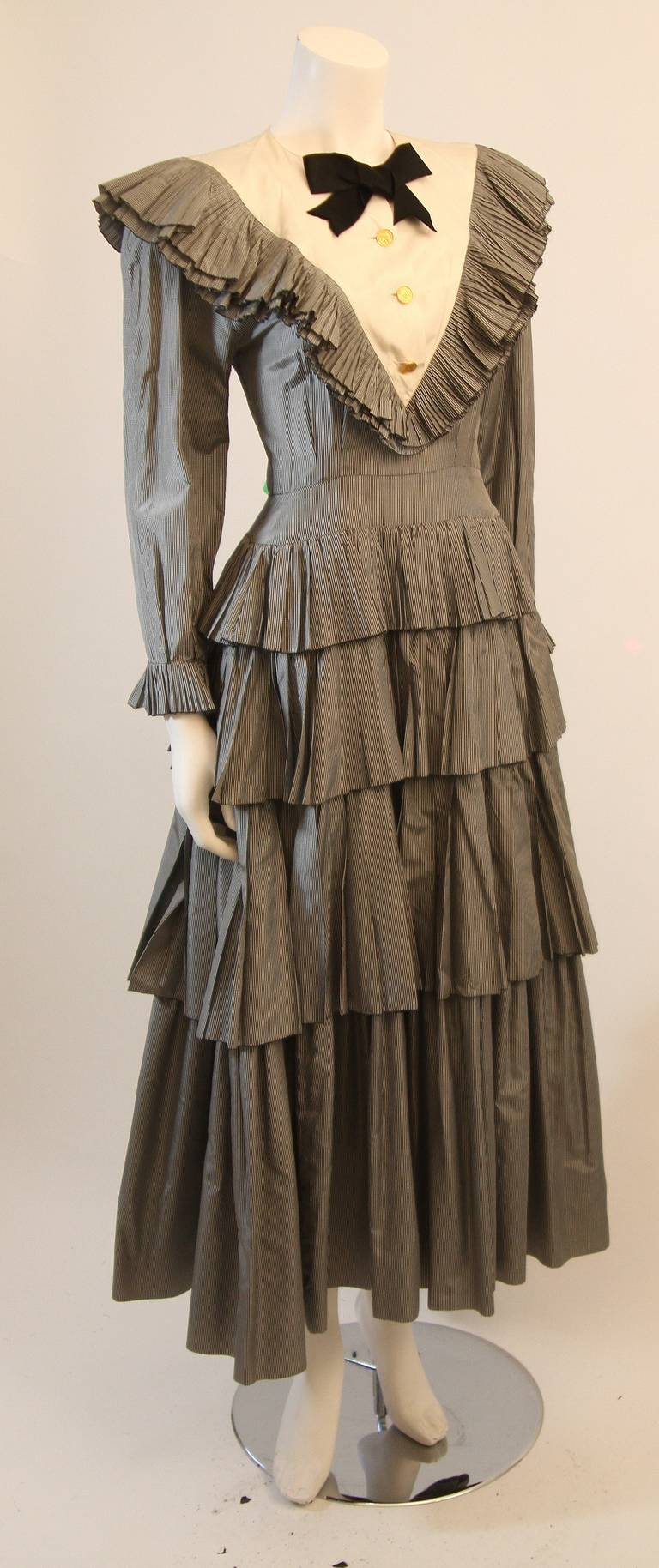 Chanel Edwardian Tiered Ruffle Gingham Gown with Black Bow 4