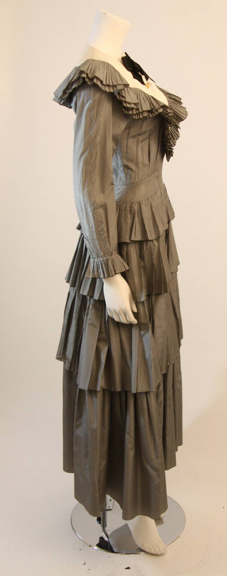 Chanel Edwardian Tiered Ruffle Gingham Gown with Black Bow 5