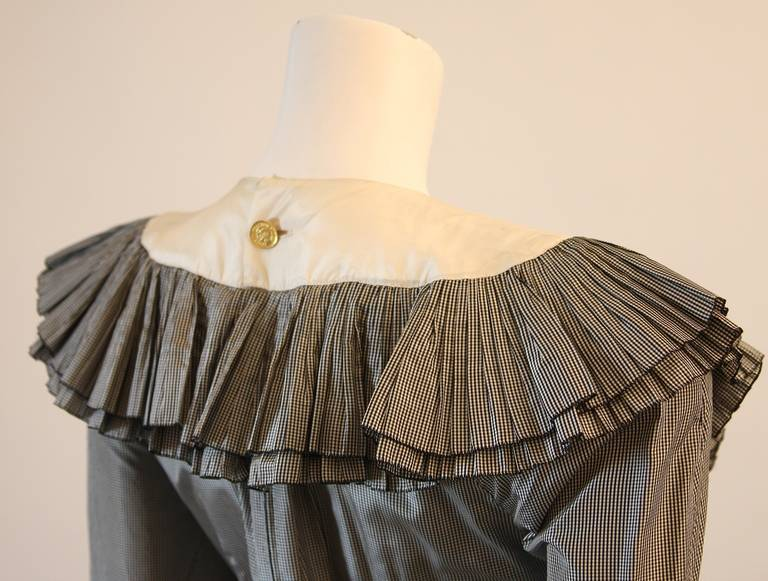 Chanel Edwardian Tiered Ruffle Gingham Gown with Black Bow 6