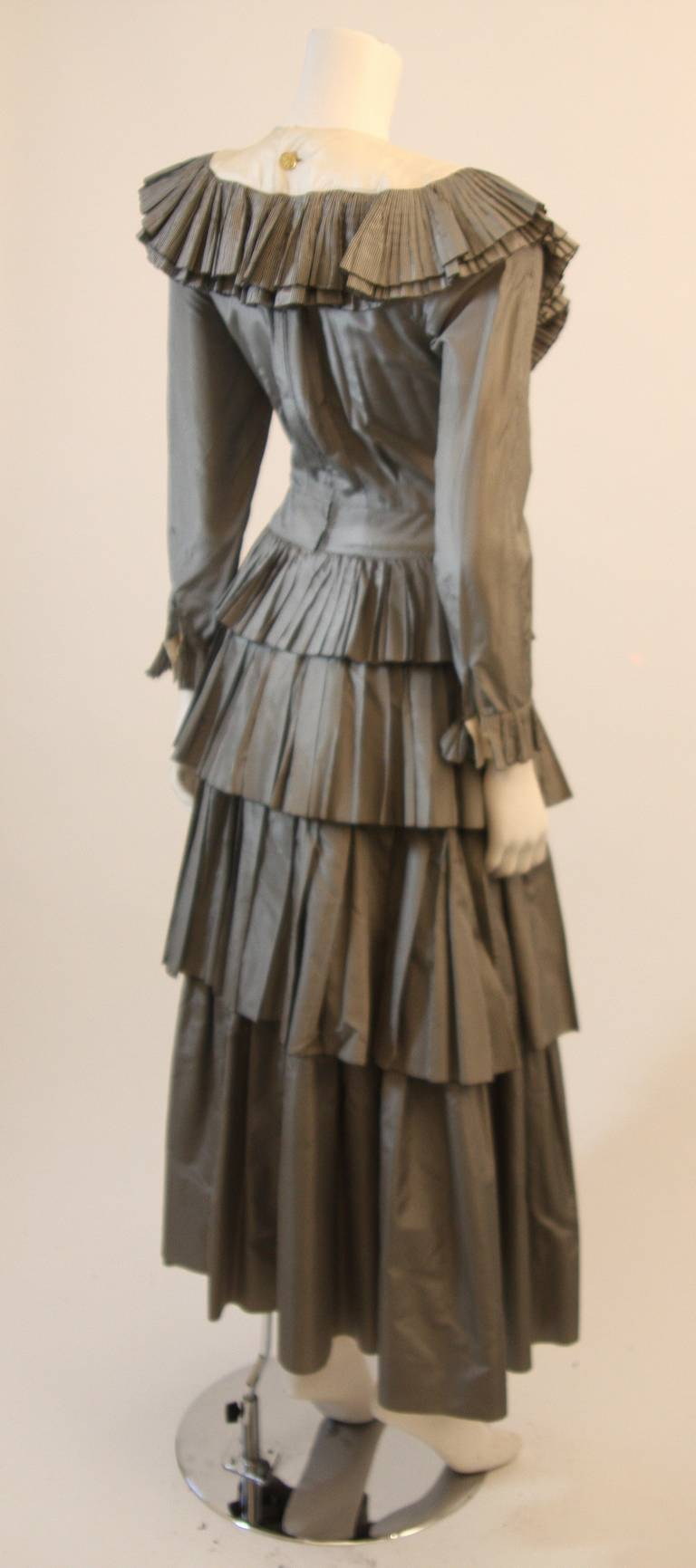 Chanel Edwardian Tiered Ruffle Gingham Gown with Black Bow 8