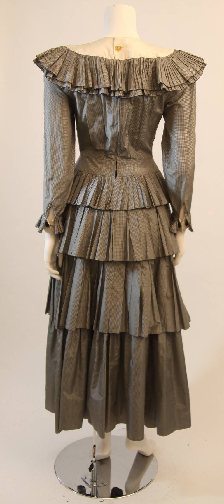 Chanel Edwardian Tiered Ruffle Gingham Gown with Black Bow 9