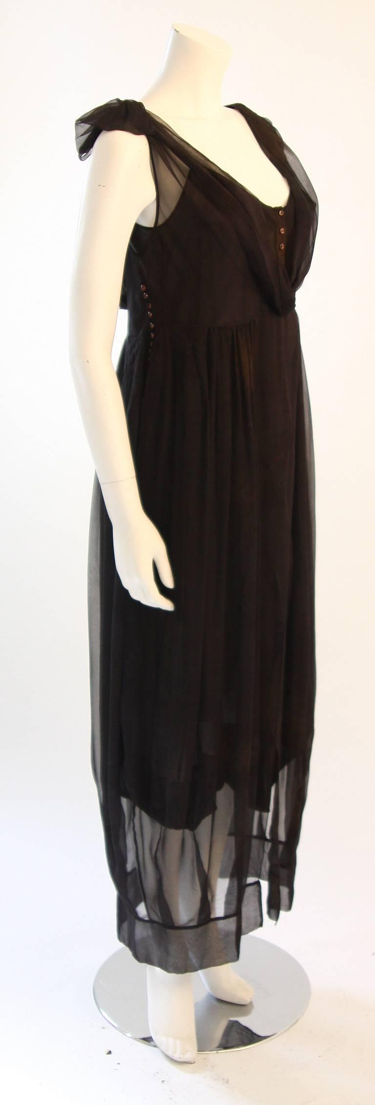 Women's Chic Zac Posen Steam Punk Inspired Layered Black & Nude Silk Dress Ensemble For Sale