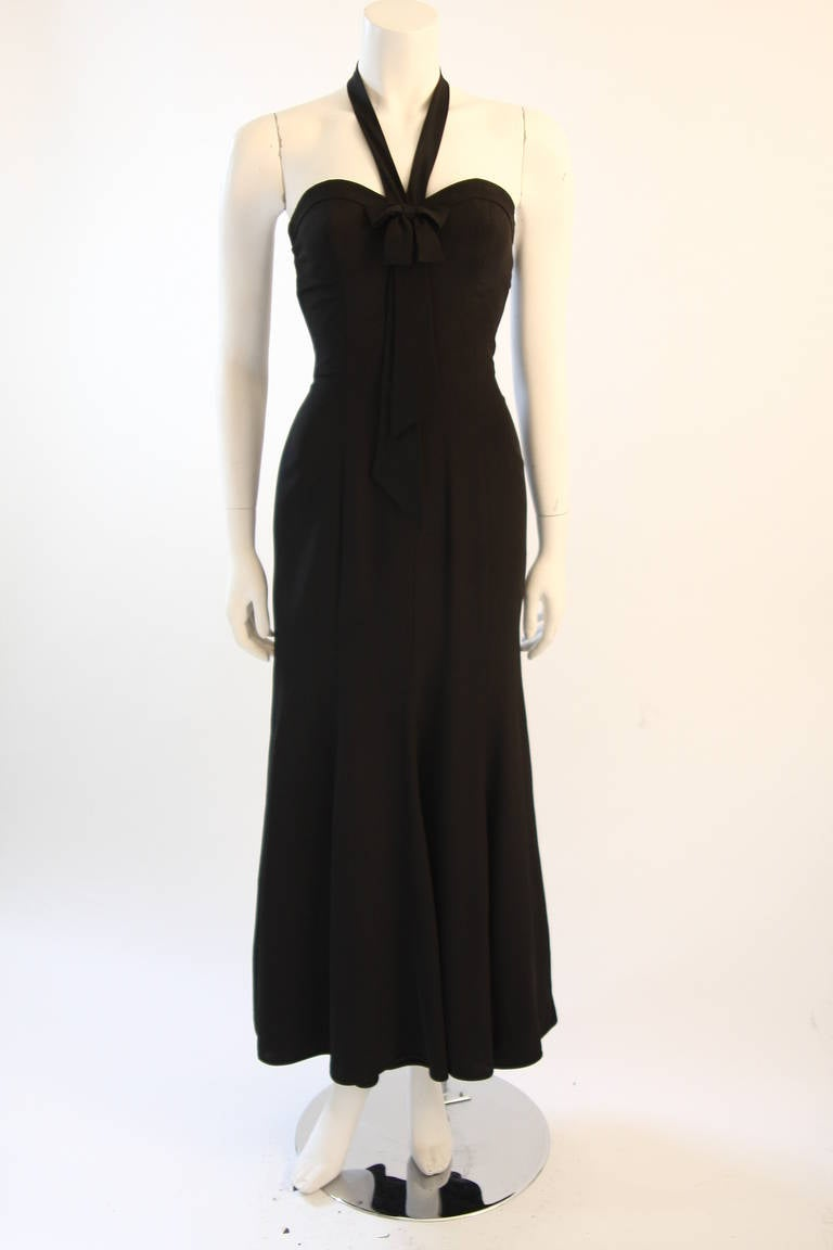 Black Emanuel Ungaro Evening Gown with Halter and Bow Size 6 For Sale