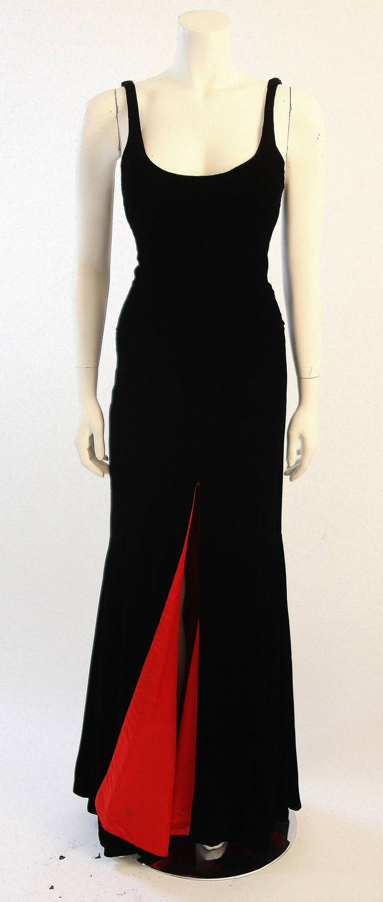 Stunning Nolan Miller Couture Black Velvet Gown With Red Lining at ...