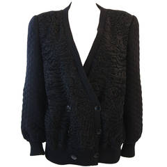 Valentino Russian Broadtail Jacket with Quilted knit Sleeves