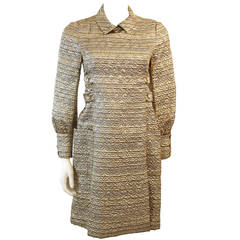 Malcolm Starr Metallic Gold Dress Coat with Rhinestone Buttons
