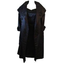 1950's Black Beaded Silk Ensemble Cocktail Dress and Opera Coat Size 6