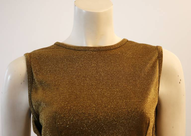 Moschino Gold Metallic Wrap Panel Holiday Sleeveless Blouse Size 42 3