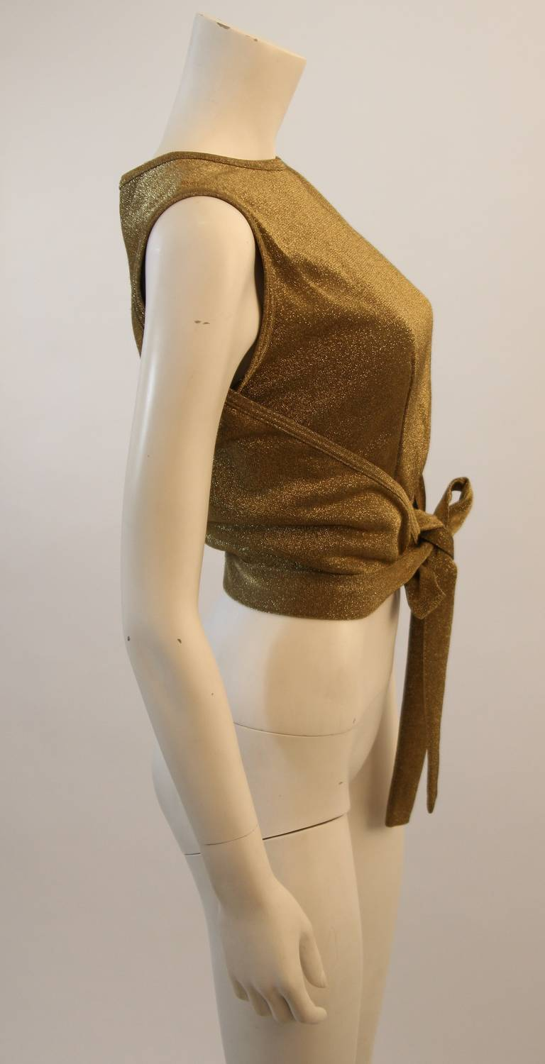 Moschino Gold Metallic Wrap Panel Holiday Sleeveless Blouse Size 42 In Excellent Condition For Sale In Los Angeles, CA