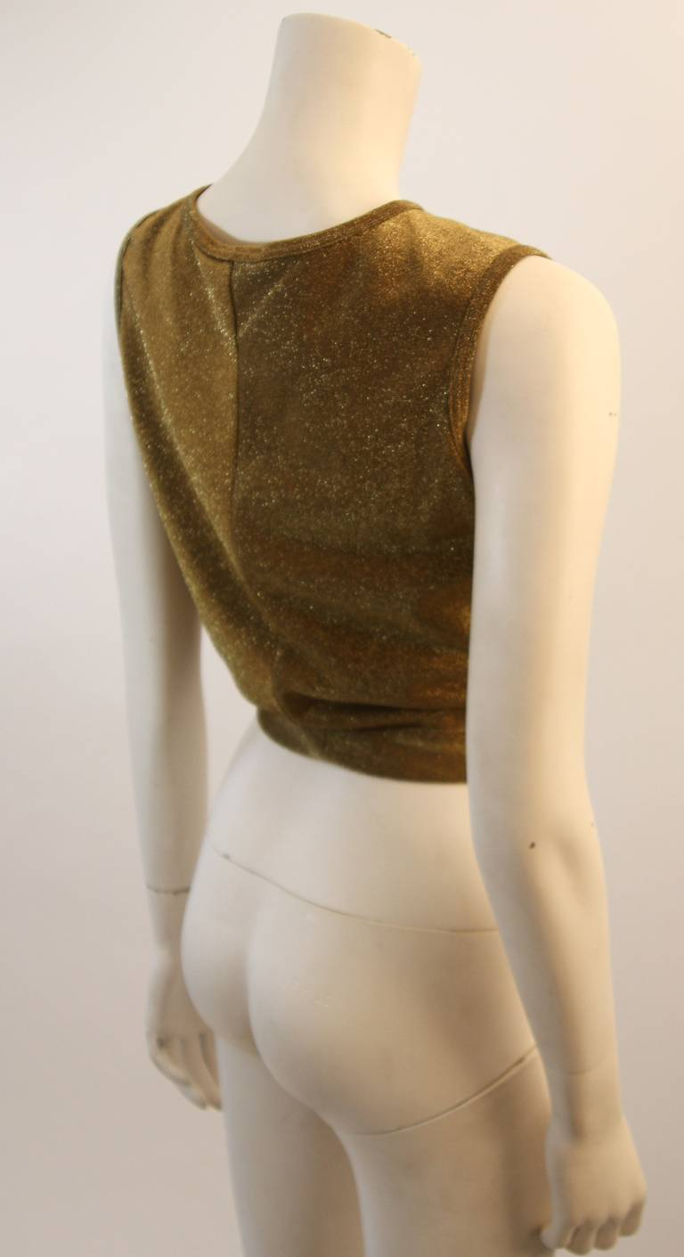 Women's or Men's Moschino Gold Metallic Wrap Panel Holiday Sleeveless Blouse Size 42 For Sale