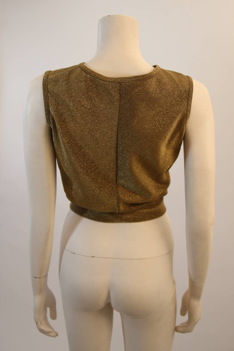 Moschino Gold Metallic Wrap Panel Holiday Sleeveless Blouse Size 42 For Sale 1